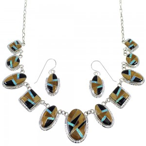 Silver Multicolor Inlay Southwestern Necklace And Earring Set CX52720