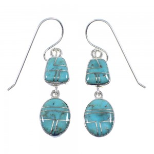 Turquoise Inlay Genuine Sterling Silver Hook Dangle Earrings YX52604