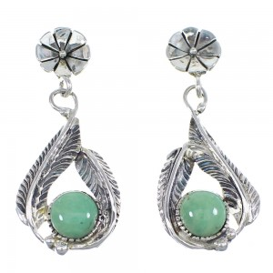 Turquoise Sterling Silver Southwestern Feather Earrings YX53099