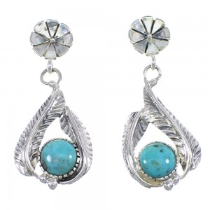 Turquoise Sterling Silver Feather Earrings YX53101