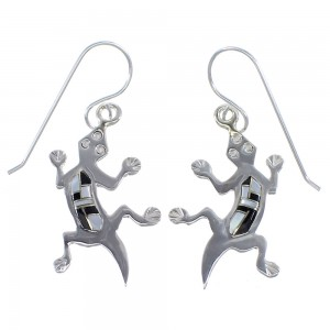 Jet And Mother Of Pearl Sterling Silver Lizard Hook Dangle Earings YX52751