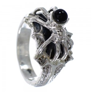 Southwest Jet And Sterling Silver Spider Ring Size 6 AX53059