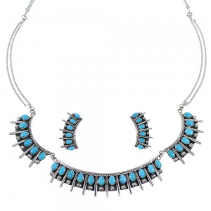 Sterling Silver Turquoise Southwestern Jewelry  Necklace And Earrings Set CX52745