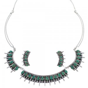 Southwestern Turquoise Sterling Silver Necklace And Earring Set CX52764