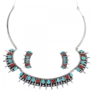Southwestern Turquoise And Coral Sterling Silver  Necklace And Earrings Set CX52775