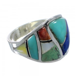 Southwestern Silver Multicolor Ring Size 8-1/4 AX53157