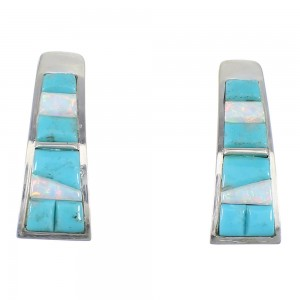 Turquoise And Opal Sterling Silver Southwestern Earrings YX52989