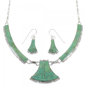Genuine Sterling Silver Southwest Turquoise Necklace And Earring Set CX52896