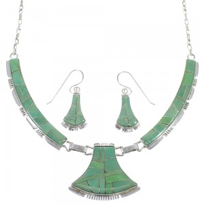 Southwest Turquoise Genuine Sterling Silver Necklace And Earring Set CX52900
