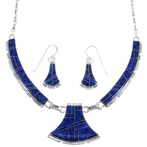 Lapis Southwest Genuine Sterling Silver Necklace And Earring Set CX52931