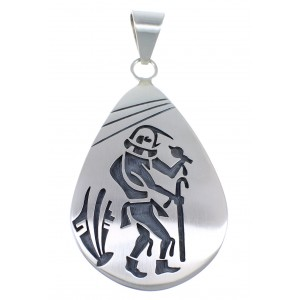 Hopi George Phillips Prayer Sticks Kachina Figure Silver Pendant EX53851