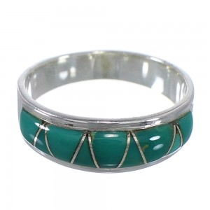 Southwest Turquoise Sterling Silver Ring Size 6-3/4 AX53388