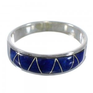 Southwestern Lapis Inlay And Sterling Silver Ring Size 7-1/4 AX53538