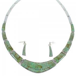 Sterling Silver Turquoise Inlay Southwest Necklace And Earring Set CX53068