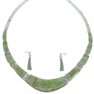 Southwest Turquoise Inlay Sterling Silver Necklace And Earring Set CX53106