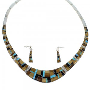 Southwestern Genuine Sterling Silver Multicolor Necklace And Earring Set CX53150