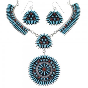 Turquoise And Coral Needlepoint Southwest Silver Necklace And Earring Set CX53705