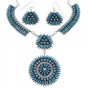 Needlepoint Turquoise Sterling Silver Southwest Jewelry Set CX53708