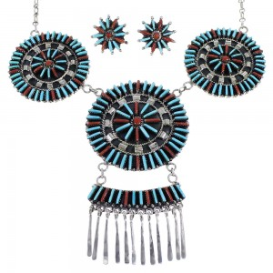 Southwest Turquoise Coral Needlepoint Silver Necklace And Earring Set  EX54077