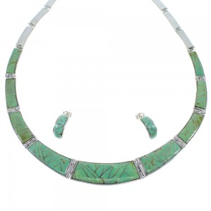 Turquoise Inlay Southwest Sterling Silver Jewelry Necklace And Earring Set CX53476