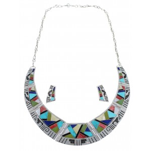 Multicolor Southwest Water Wave Sterling Silver Necklace And Earrings Set CX53608