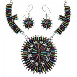 Multicolor Needlepoint Southwest Silver Necklace And Earrings Set EX54161