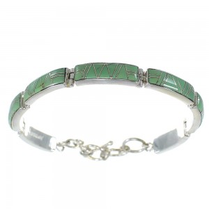 Turquoise Inlay Silver Link Bracelet AX54059