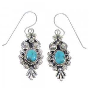 Authentic Sterling Silver And Turquoise Hook Dangle Earrings RX54648