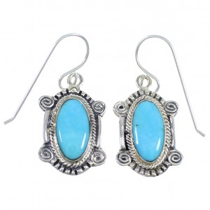Turquoise and Silver Hook Dangle Earrings RX54690