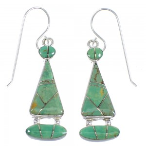 Turquoise Inlay Sterling Silver Earrings RX55597