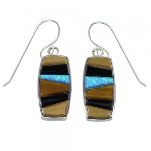 Sterling Silver And Multicolor Inlay Hook Earrings RX55672