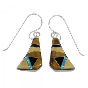 Authentic Sterling Silver Multicolor Inlay Hook Earrings RX55716
