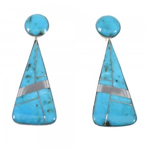 Southwest Turquoise Sterling Silver Post Earrings RX54855