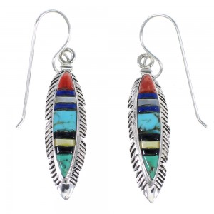 Sterling Silver Multicolor Inlay Feather Earrings RX55026