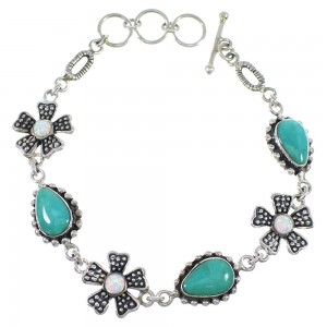 Silver Turquoise And Opal Flower Link Bracelet AX54435
