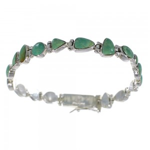 Turquoise Genuine Sterling Silver Link Bracelet AX54239