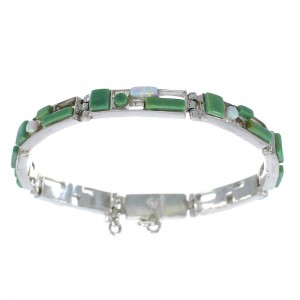 Turquoise And Opal Silver Southwest Link Bracelet AX54339