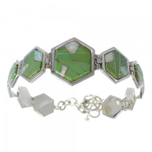Sterling Silver Opal And Turquoise Inlay Link Bracelet AX54123