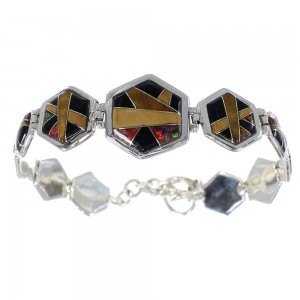 Multicolor Inlay Sterling Silver Link Bracelet AX54128