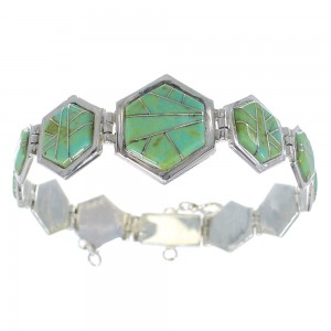 Southwestern Turquoise Inlay Sterling Silver Link Bracelet AX54134