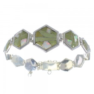 Turquoise And Opal Silver Southwestern Link Bracelet AX54144