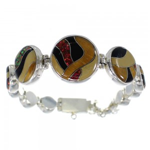 Multicolor Inlay Authentic Sterling Silver Link Bracelet AX54209