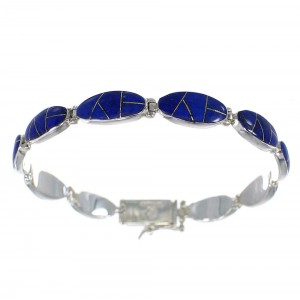 Lapis Inlay And Sterling Silver Link Bracelet AX54592