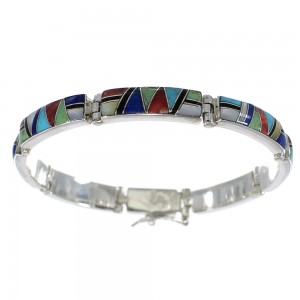 Multicolor Inlay Sterling Silver Link Bracelet AX55286
