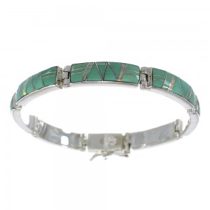 Turquoise And Opal Sterling Silver Link Bracelet AX55288
