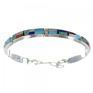 Multicolor Inlay Sterling Silver Link Bracelet AX54861