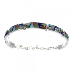 Multicolor Inlay Sterling Silver Link Bracelet AX55048