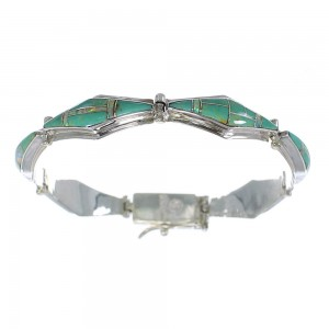 Turquoise And Opal Southwestern Silver Link Bracelet AX54613