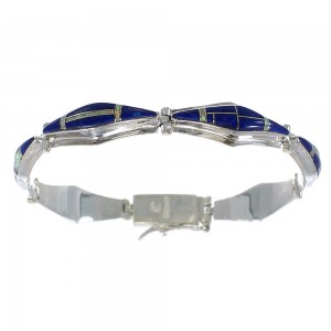 Lapis And Opal Silver Link Bracelet AX54621