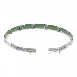 Southwestern Sterling Silver And Turquoise Link Bracelet EX54187